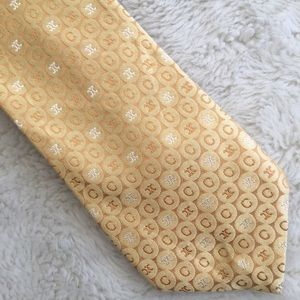 Celine Mens Silk Yellow Gold Tie Made In Italy